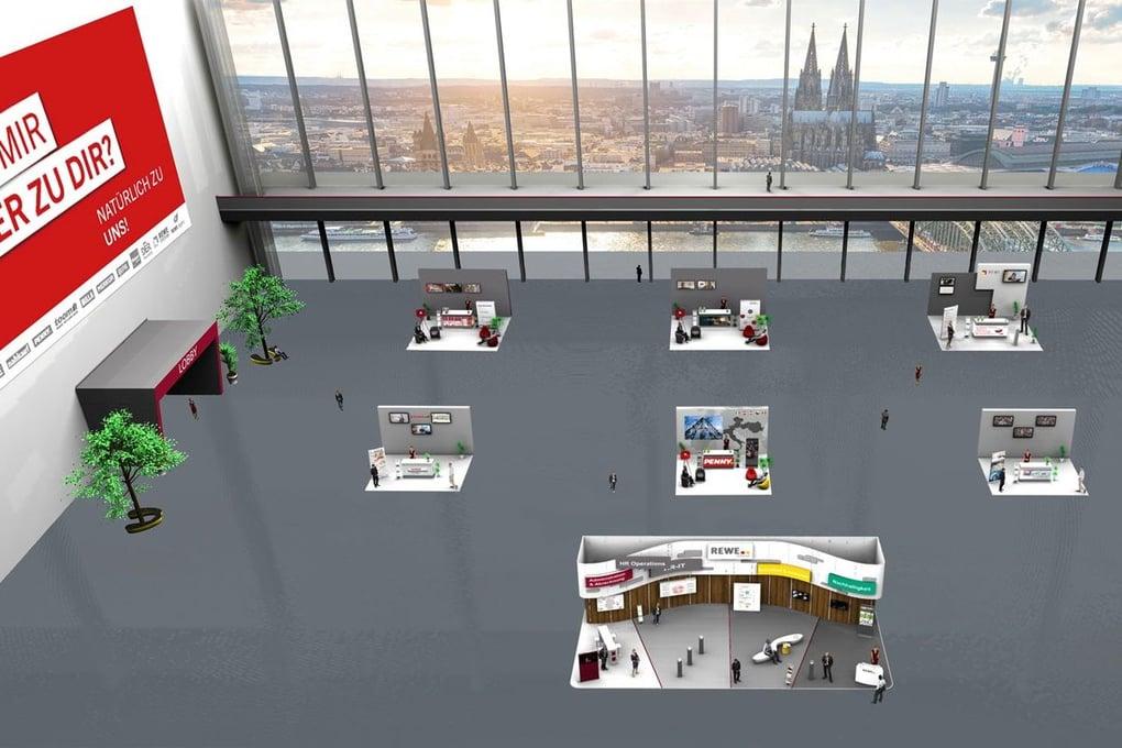 Messehalle auf dem virtuellen Karrieretag der REWE Group