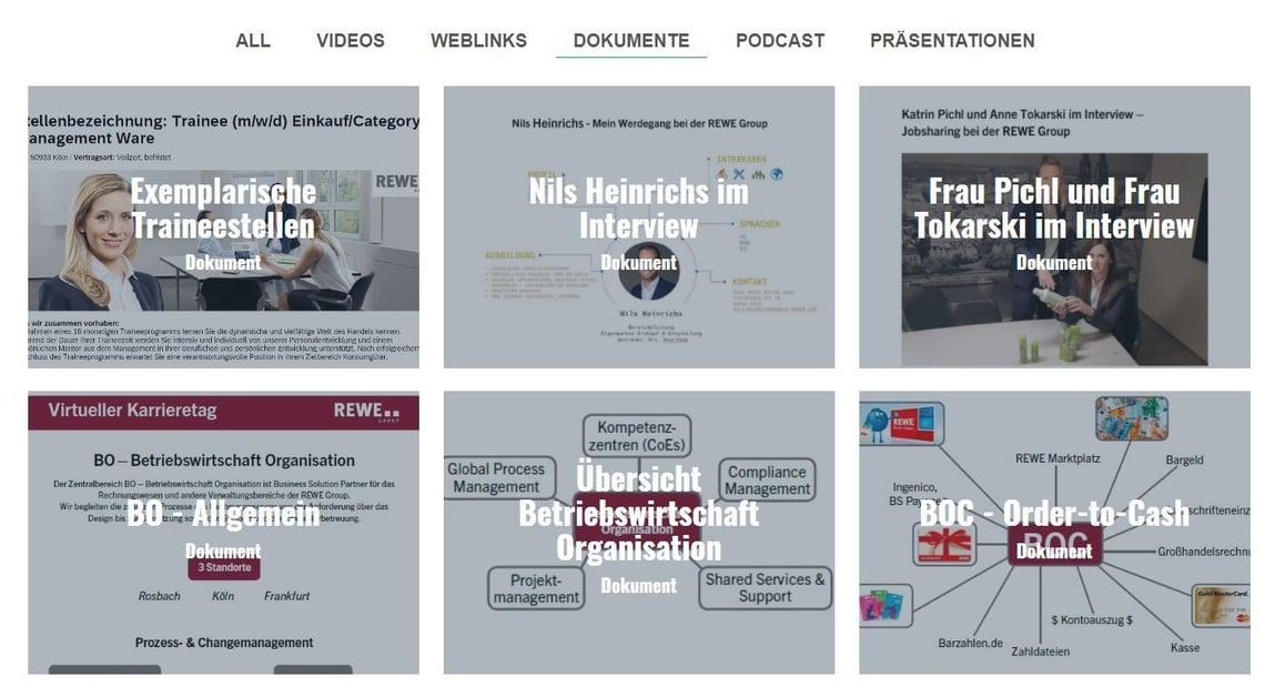 Infocenter auf dem virtuellen Karrieretag der REWE Group
