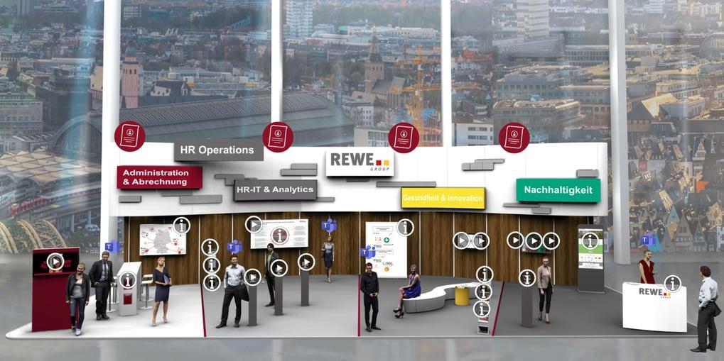 2D-Messestand mit Interaktionspunkten auf dem virtuellen Karrieretag der REWE Group